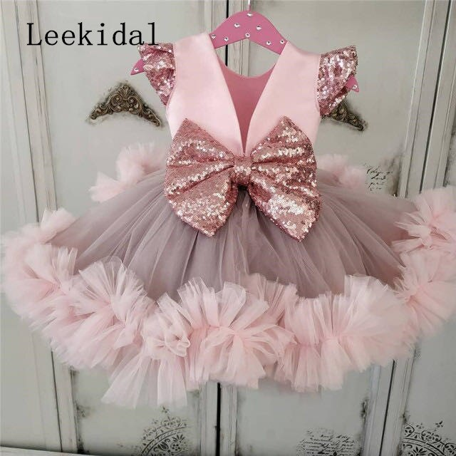 Pink Baby Girls Dresses Knee Length Puffy Girls Toddler Infant Birthday Dresses Tutu Cloth Size 12m 18m 24M