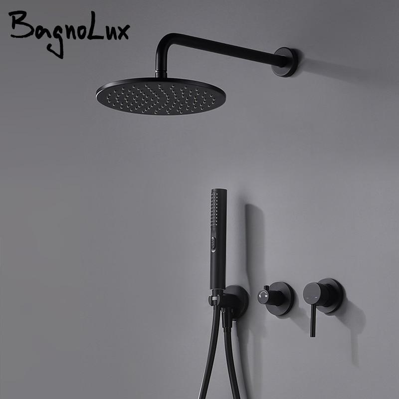 Built-in Shower Mixer Faucet Diverter With Water Outlet Holder Bagnolux Black Brass Rain Hand-Held Head Bathroom Set