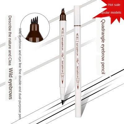 MB nuevo doble cabeza 4 cabeza ceja pluma lápiz de ojos negro impermeable Natural de secado rápido maquillaje duradero