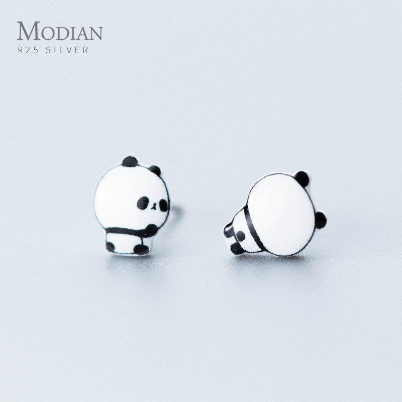 Pendientes de tuerca de Panda Modian Animal lindo para mujeres niñas niños 925 Plata de Ley cerámica joyería de moda Bijoux 20120 nueva Bijoux