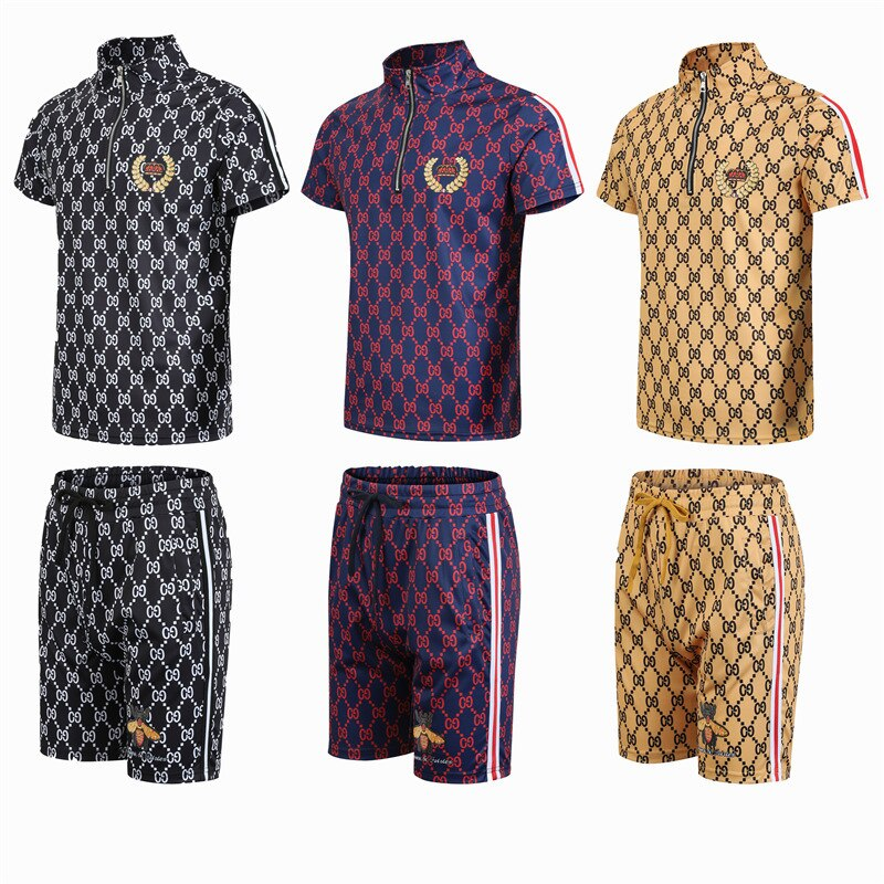 Spring and summer casual short sleeve shorts collar Men 's clothing printing movement t - two-piece grid shirts2021 new models