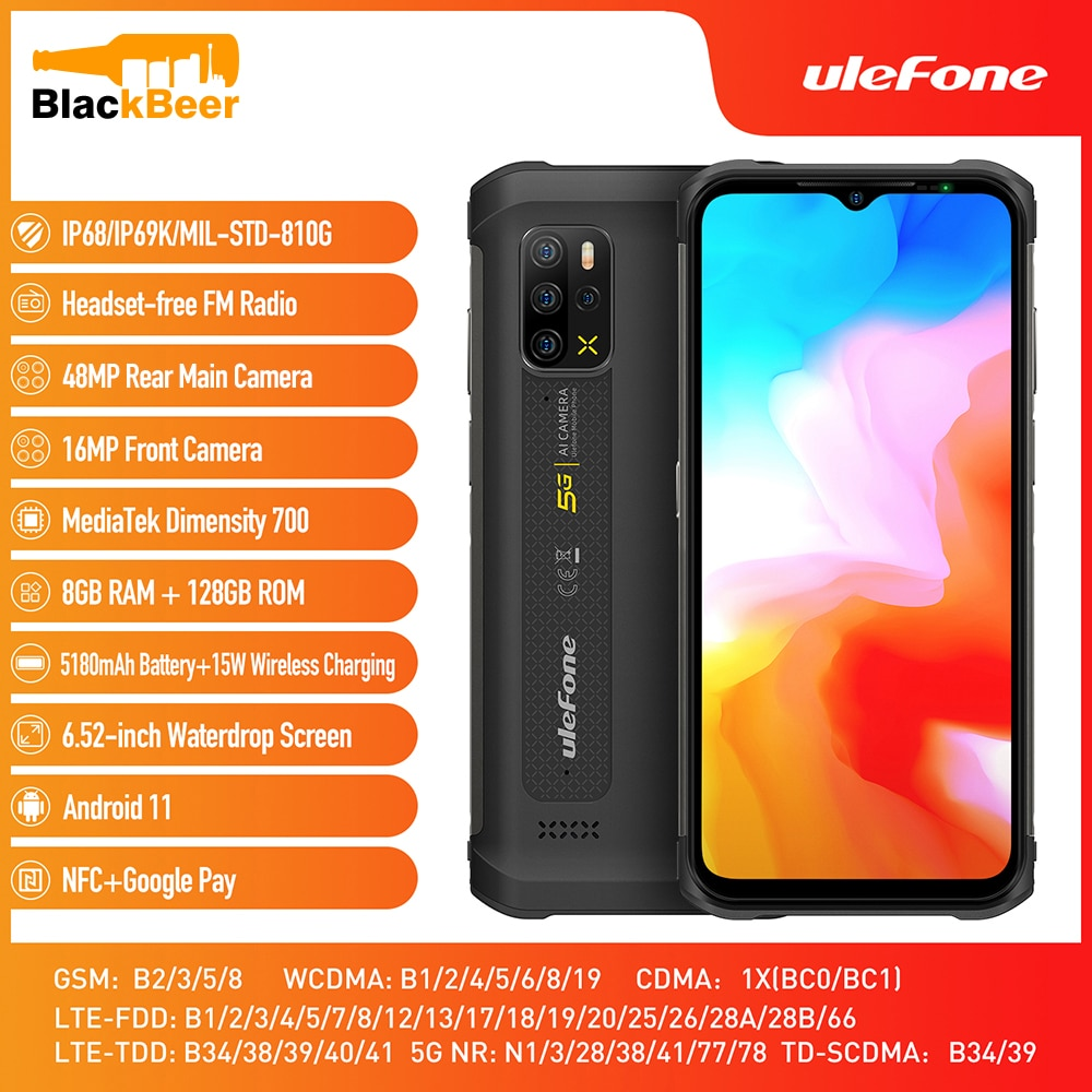 Ulefone Armor 12 5G Rugged Waterproof CellPhone Android 11 8G 128GB Mobile Phone 6.52 Inch Smartphone 5180mAh Global Version NFC