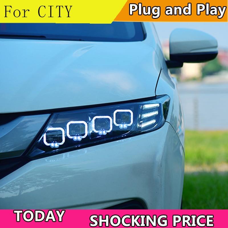Estilo de coche para Honda de la ciudad de Faro 2015 de 2016, 2017 LED faros de LED DRL LED de matriz de lente de luz de giro