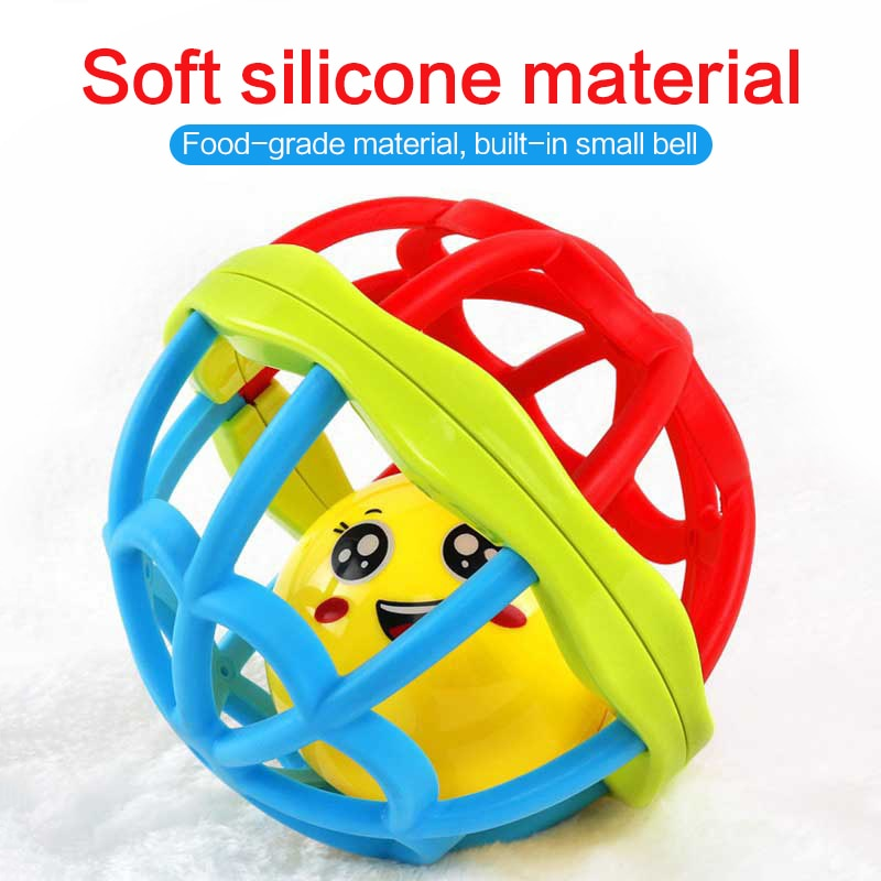 Baby Ball Colorful Sensory Ball Soft Ring Bell Ball Early Educational Toy Baby Hand Grip Rattle Soft