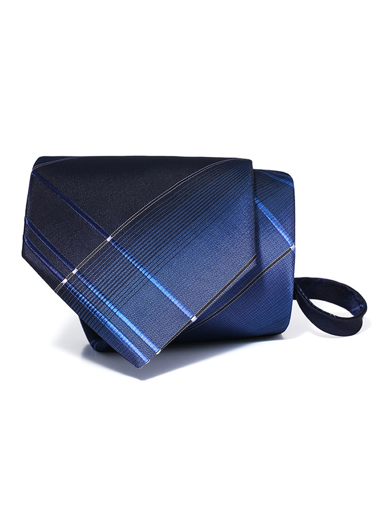High Quality 2020 New Arrivals Men's Fashion Zipper Ties 8cm Wide Casual Formal Neckties Blue Striped Ties for Men Gift Box