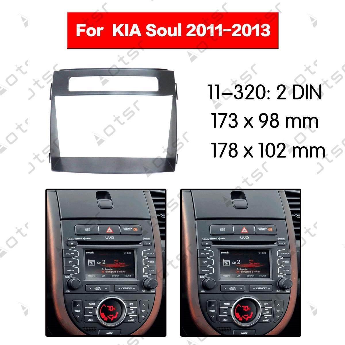 Placa de Panel estéreo envolvente Radio coche Fascia para KIA alma 2011 2012 2013 Kit de tablero DVD Marco de reposición