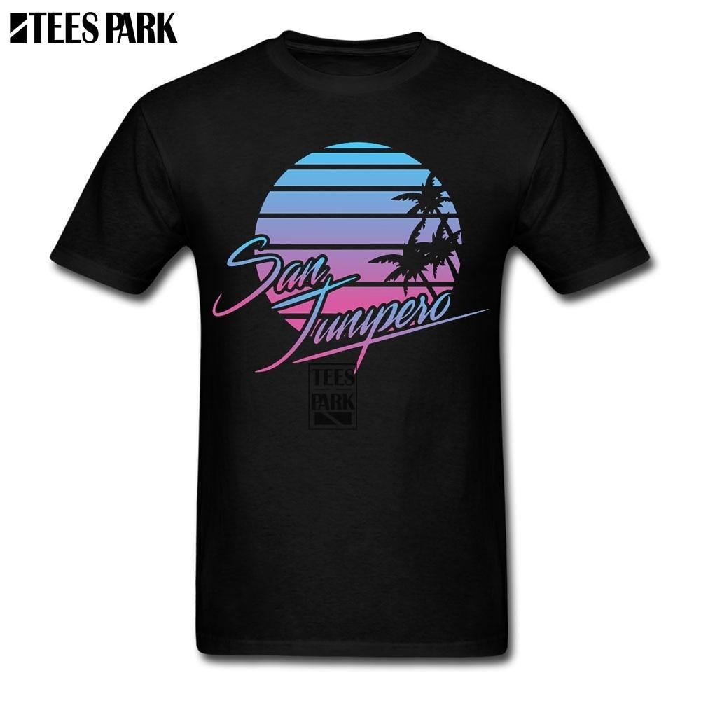 Tops camisa San Junipero película negro espejo camiseta creador gimnasio camisas geniales camiseta estudiantes fabricante barato Real oficial ropa