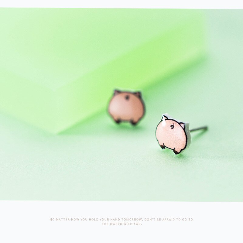 S925 Lovely Pig Stud Earrings Cute 925 Sterling Silver Animal Ear Nail Accessories Jewelry For Women