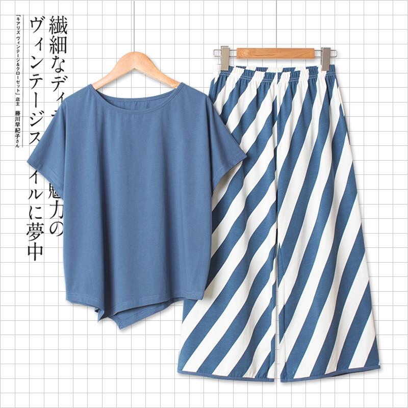 النسخة الكورية من فضفاضة شريط واسعة الساق بنطلون للسيدات المنزل ارتداء قصيرة الأكمام Pantsuit للسيدات في القطن منامة مجموعة