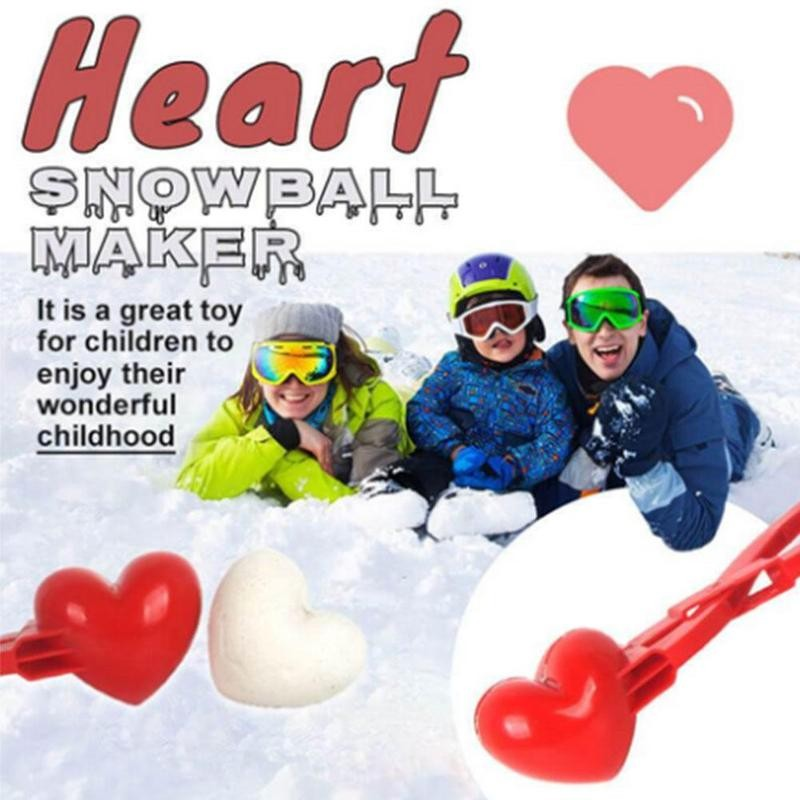 Heart Snowball Maker Winter Mold Plastic Sand Ball Tool Clip Kids Toy Outdoor For Adult Kids Interaction Gifts winter snowball maker sand mold tool kids toy lightweight compact snowball fight sports outdoor games for children