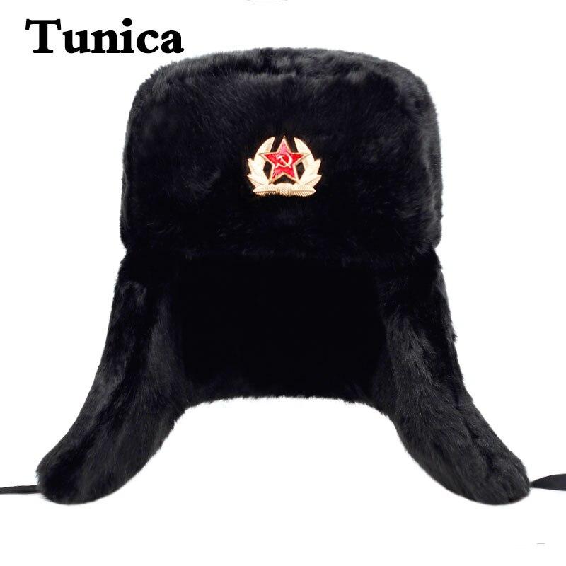 Winter Men Hat Fur Warm Windproof Cap Lei Feng Cap Bomber Faux Fur Ear Flap Caps Black Ski Trooper T