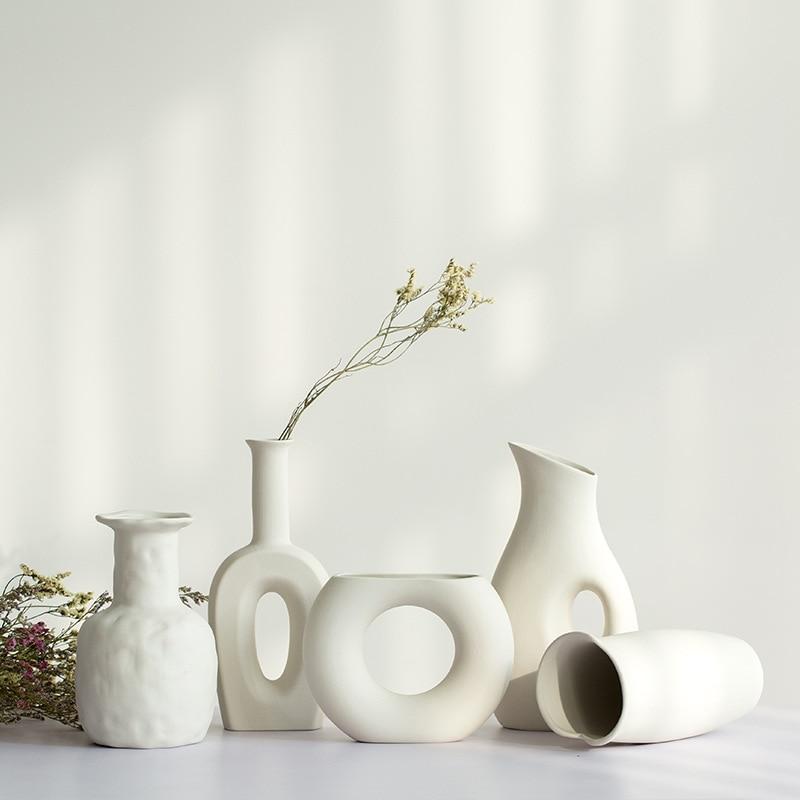 White Ceramic Vase Dried Flowers Small Fresh Living Room Flower Arrangement Starry Table Home Decoration Pendulum