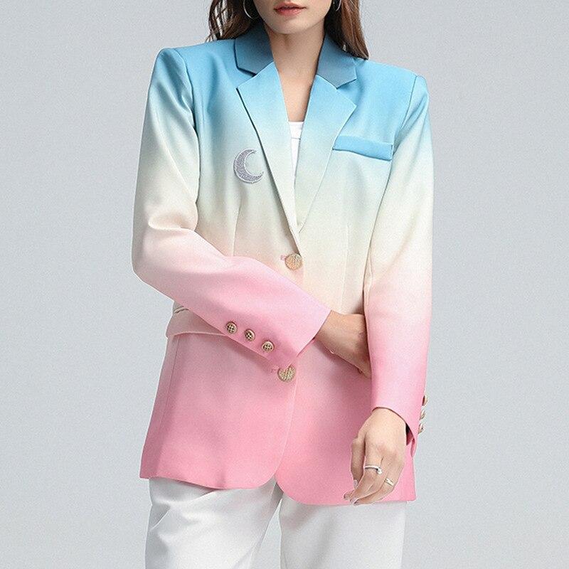 MSXU 2020 شتاء جديد الأزياء مزاجه المرأة دعوى طوق التدرج اللون واحدة الصدر تصميم سترة المرأة