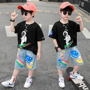 2021 new children's clothing printed spacesuits for children in summer are delivered free of charge.