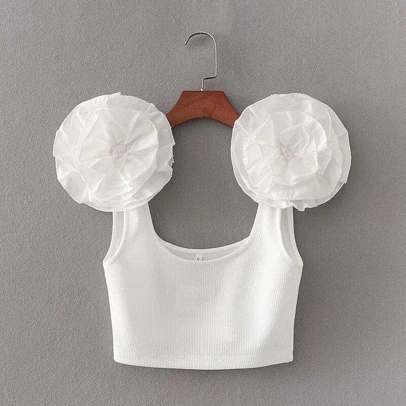 Top corto tejido con apliques de flores para mujer, chaleco de verano para mujer, camisetas sin mangas blancas con estilo nuevas para mujer T1362