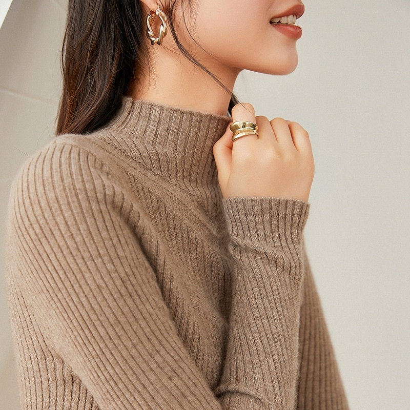 100% cashmere sweater, women's half-high neckline, hollow drawstring bottoming shirt, women's self-cultivation, knit sweater, sw enlarge