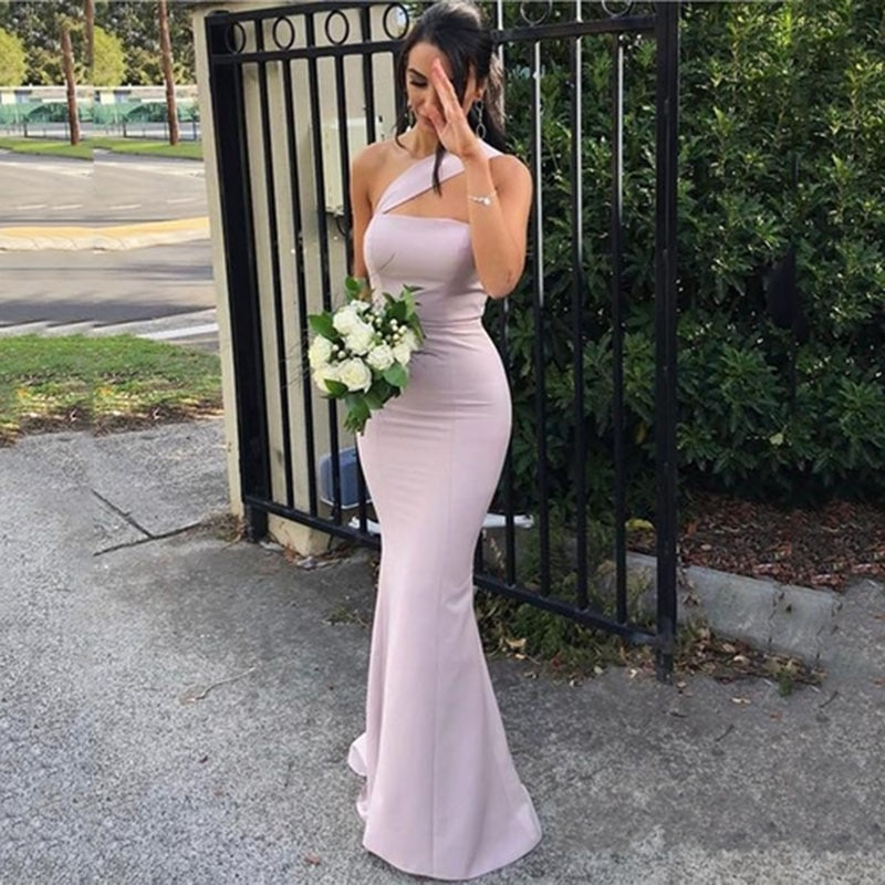 Purple Sexy Long One-Shoulder Bridesmaid Dress 2020 Chiffon Backless Formal Prom Party Gown Women Lo