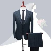 jacket pant vest 2020 new men business slim suits sets wedding dress three piece suit blazers coat gird trousers waistcoat