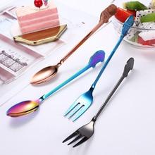 1 cuchara creativa de acero inoxidable con forma de elefante, cuchara agitadora para café o té, tenedor de postre de 16,2 cm, cuchara plana de alta calidad