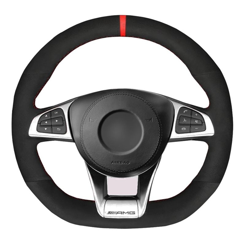 Steering Wheel Cover Soft Black Suede For Mercedes-Benz A45 AMG W205 C43 C63S AMG CLA45 CLS63 AMG GLC 43 63 AMG GLE43 63 AMG