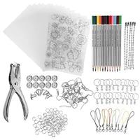 1 set shrinky art paper heat shrink sheet plastic kit hole punch keychains pencils diy color lead manual heat shrink film tool