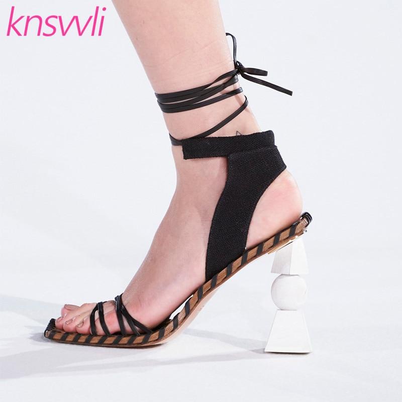 Sandalias de tacón alto de estilo extraño para Mujer, Sandalias de piel con banda estrecha de diseñador para Mujer