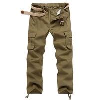 men casual cotton cargo pants side multi pocket design army green khaki black dark gray trousers male four seasons bottoms