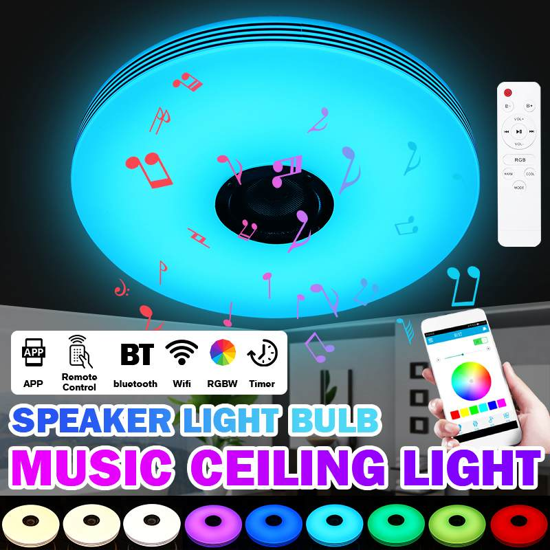 Dimmable Modern Music Led Ceiling Light Lamp 36W 72W RGB Remote&APP Control Smart Music Ceiling Lamp With bluetooth Speaker