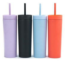 Double-layer Plastic Water Bottle Straight Tube Candy Color Large-capacity Water Cup with Straw Rubb