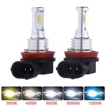 2 PIÈCES LED CSP Mini Voiture Phare H11 H7 Ampoule H1 H8 H9 9005 HB3 9006 HB4 3000K Antibrouillard 6000K Lampe 12000K Bleu Glacier Antibrouillard