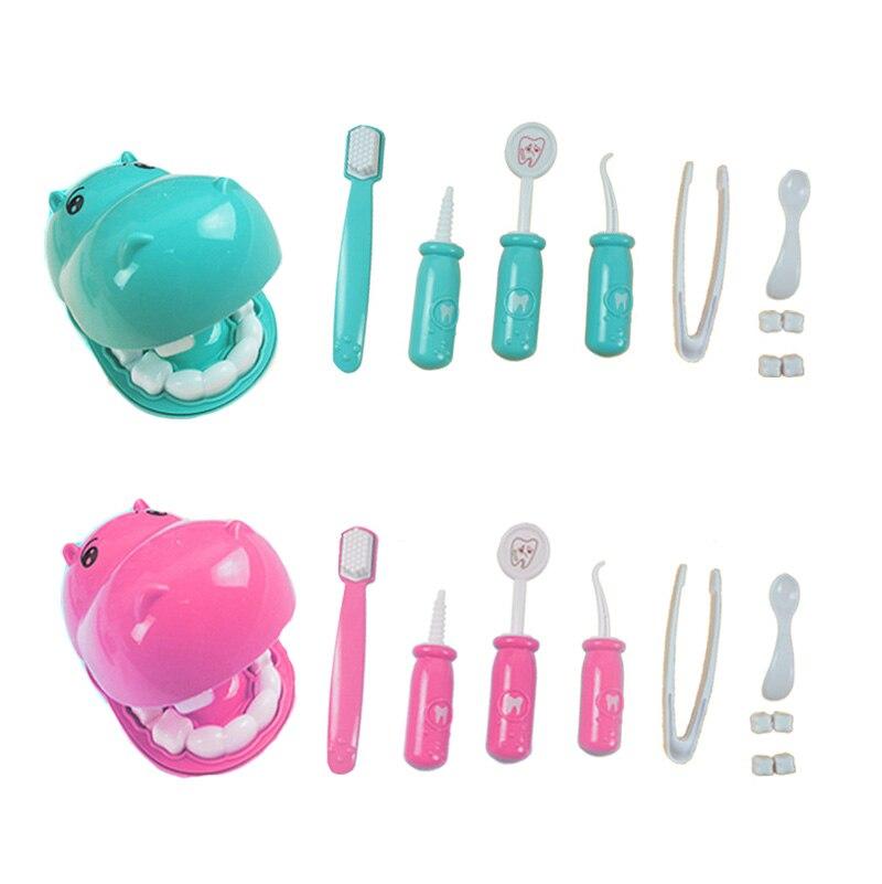 Conjunto de 9 piezas de niños para jugar con juguetes, conjunto de modelo de dentista con control de los dientes, kit médico, juguetes educativos para niños