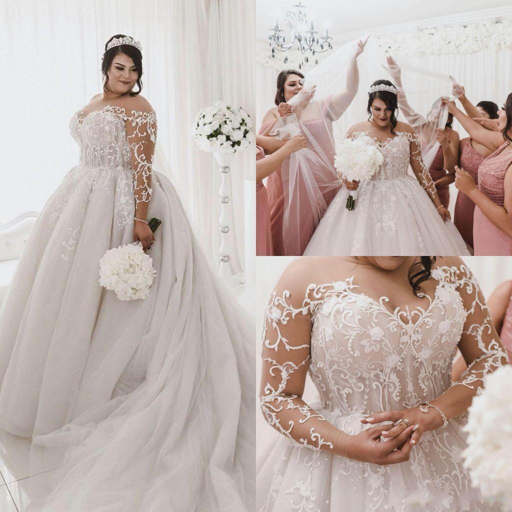 Get Plus Size Wedding Dresses Sheer Jewel Neck Lace Applique Sweep Train Wedding Gowns Custom Made Bohemia Long Beach Bridal Dresses