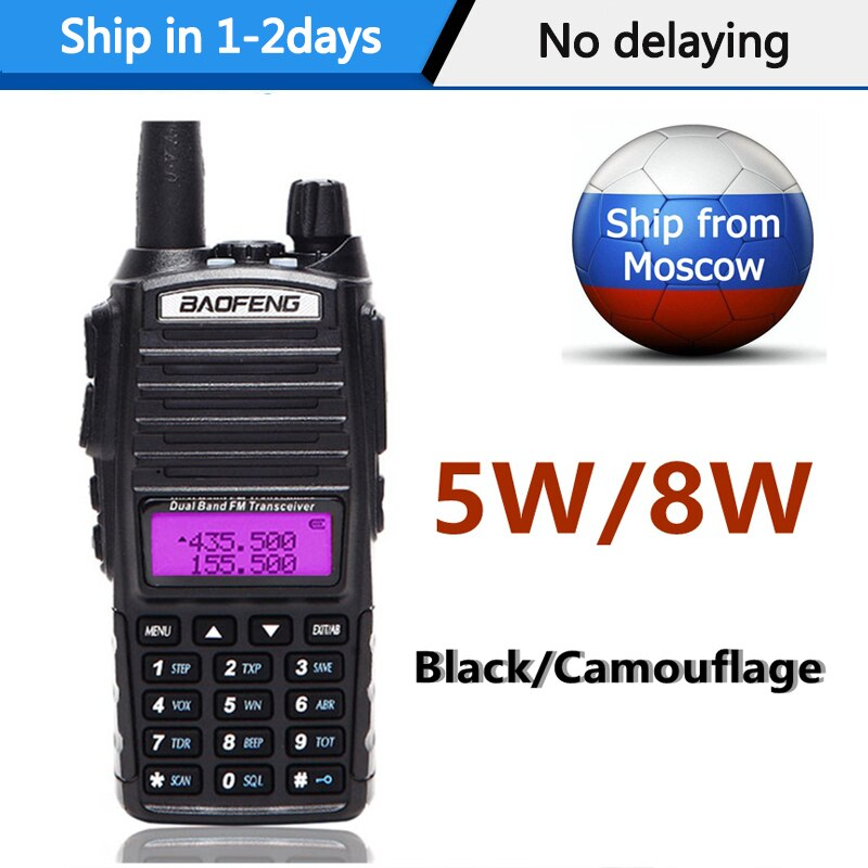 De Baofeng UV-82 8w 5w Radio portátil Walkie Talkie UV82 dos PTT de doble banda VHF/UHF 136-174/400-480MHz dos CB Radio de jamón