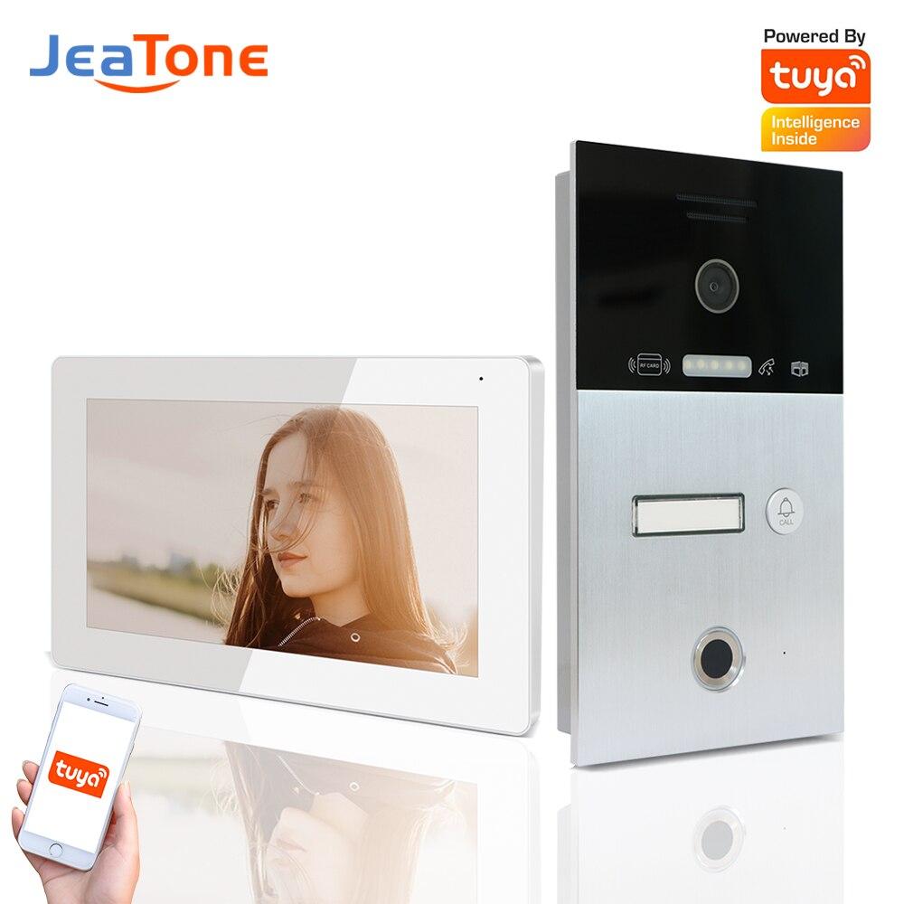 Jeatone بصمة فيديو نظام اتصال داخلي الشقق جرس باب بالفيديو عبر شبكة واي فاي الاتصال الداخلي بطاقة الهاتف Unlcok 120 ° زاوية البرية