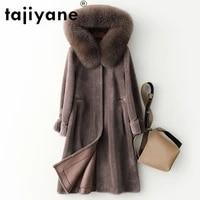 tajiyane women coats and jackets winter woman 100wool real fur coat natural fox fur collar hooded parkas mujeres abrigos tn618