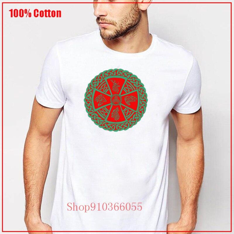 Naturaleza celta vikingo nórdico diseño rojo hombres personalizado Lobo Cuervo ciervo leopardo Camiseta de algodón camiseta de Hip Hop Tops camisetas de moda