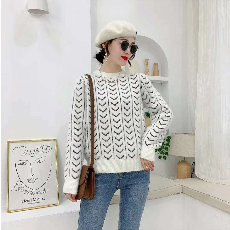 New Style Winter Women's Knitted Sweater Fashion O-eneck Open Fork Design Pullovers Loose Oversize Warm Sweaters woman sweaters enlarge