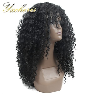 """YXCHERISHAIR Synthetic Natural Black Kinky Curly Wigs 22"""" Long Heat Resistant Fiber Swill Afro Fluffy Wig for Black Women"""