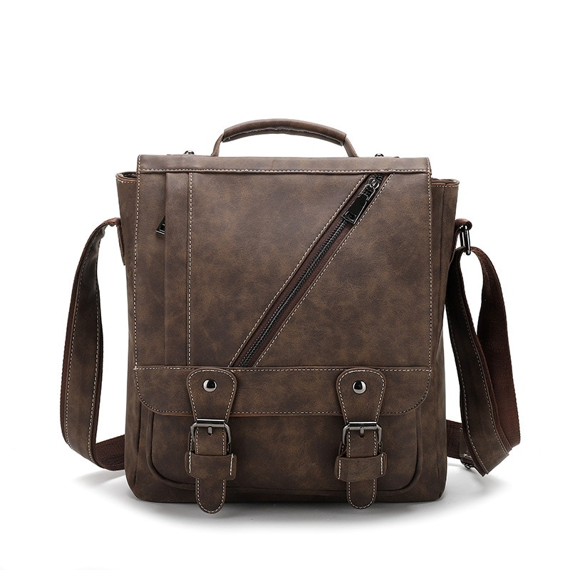 New Crazy Horse PU Leather Men's Shoulder Bag Large Capacity Retro Diagonal Cross Bag Men's Vertical Men's Handbag Large Bag