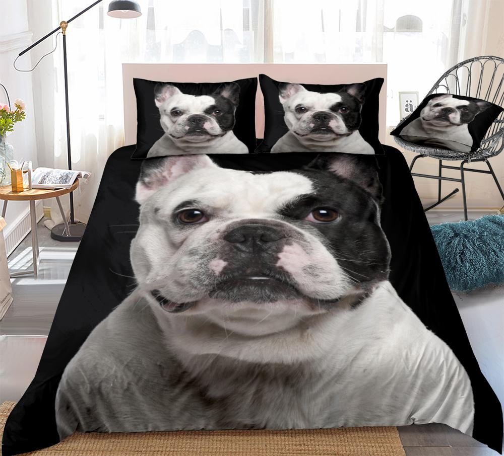 3D Bulldog Bettbezug-set Schwarz Weiß Hund Bettwäsche Kinder Jungen Mädchen Pet Quilt Abdeckung Hund Bett Set Pet Schwarz weiß QueenDropship