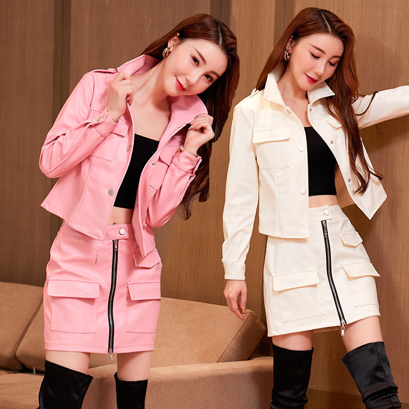 2021 الربيع الخريف النساء أزياء 2 قطعة مجموعة سترة قصيرة معطف وقصيرة الوردي بو الجلود سستة جيب البسيطة تنورة تتسابق Y229