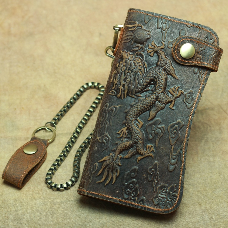 Vintage men's dragon pattern clutch bag leather long anti-theft wallet crazy horse leather men bag key ring men wallet