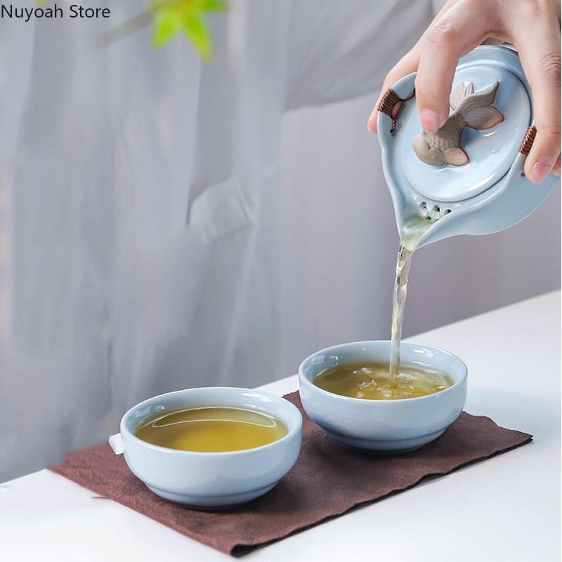 طقم شاي سيراميك صيني محمول ، وعاء واحد وكوبين ، تخزين متكامل ، إبريق شاي خارجي ، حقيبة تخزين ، كوب واحد