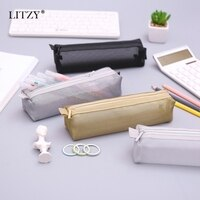 Black Transparent Pencil Case for School Nylon PencilCase Mesh Pencil Bag Small Pen Box School Supplies Stationery Gifts