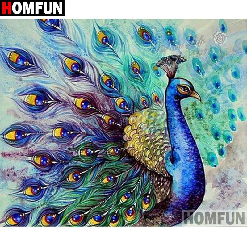 "HOMFUN ""Tier pfau vogel"" Diamant Malerei 5D Voll Platz/Runde Bohrer Wohnkultur DIY Diamant Stickerei Kreuz stich A27472"
