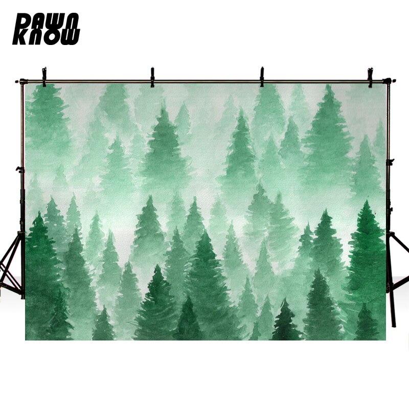Fondo de fotografía de bosque de daynknow dibujo verde árbol de pino sesión de fotos de fondo para niños Photocall lv1034
