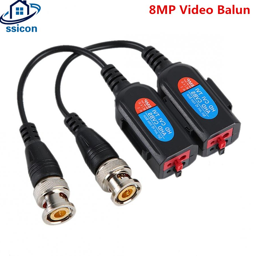 10 Pairs HD 8MP Video Balun CCTV Twisted Pair Transmitter Connecter Video Baluns For TVI/CVI/AHD Camera недорого