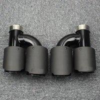 car exhaust modification h shaped double outlet matte carbon fiber tail throat four outlet muffler suitable for bmw e34e36e90