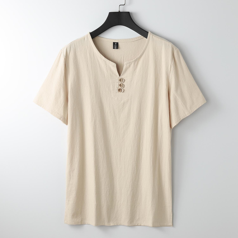 Summer Men sleep tops homewear large size T-shirt Short Sleeve Tees big size 7XL 8XL 9XL v-neck cotton linen loose sleep tops 58