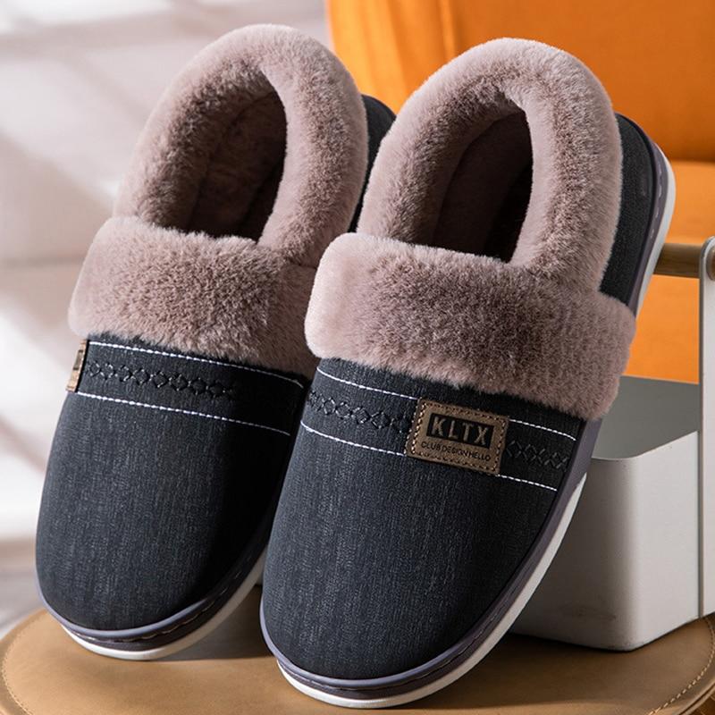 Мужские зимние теплые тапочки; Плюшевые тапочки; Домашняя хлопковая обувь для мужчин; Мужская домашняя обувь на толстой подошве